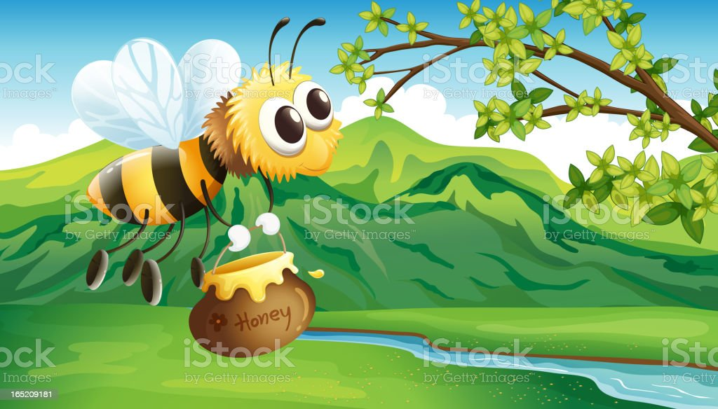 Bee bringing a honey royalty-free stock vector art