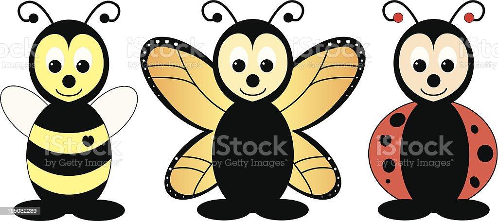 Bee, Butterfly, Ladybug royalty-free stock vector art