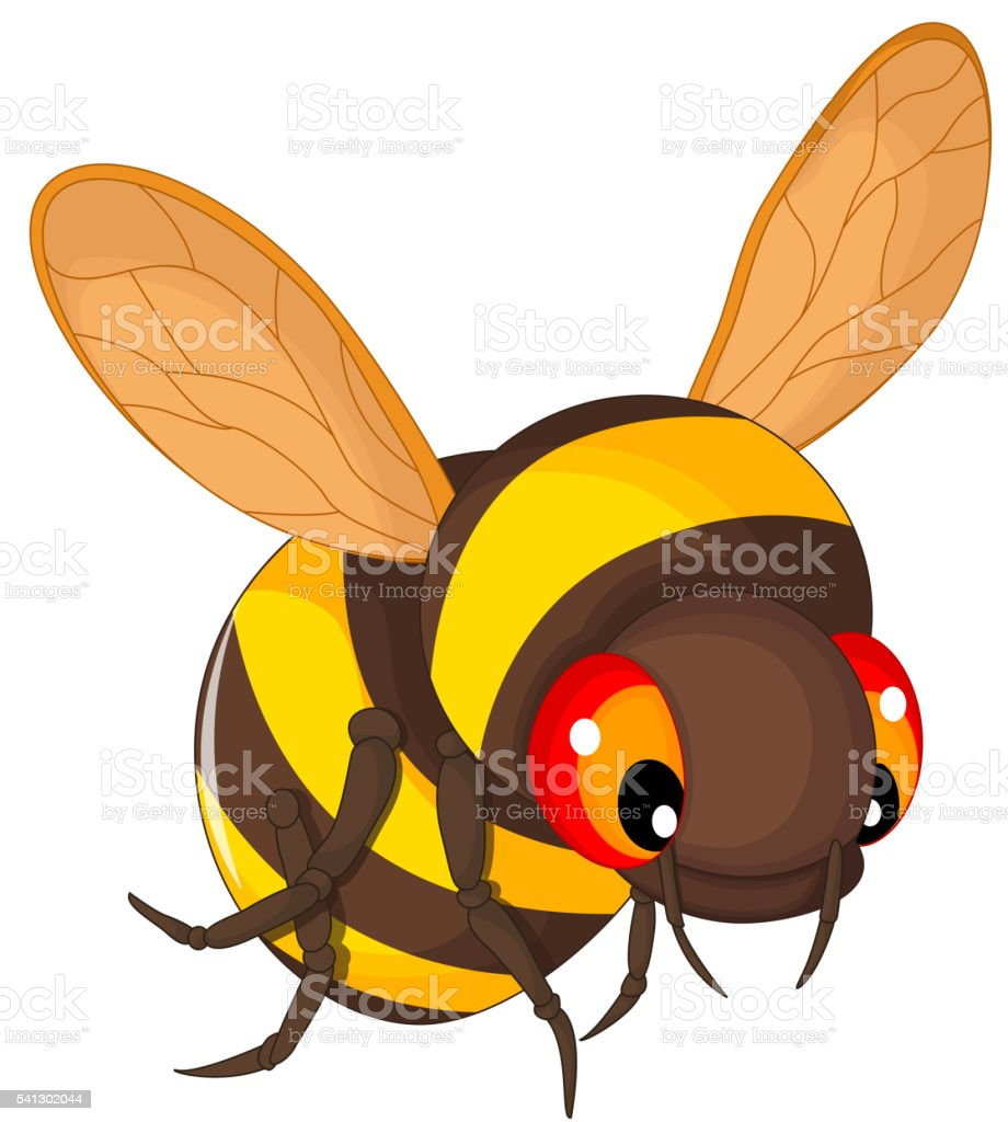 bee cartoon flying vector art illustration