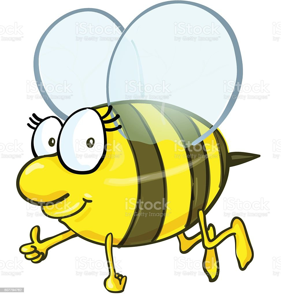 Bee cartoon isolated on white background vector art illustration