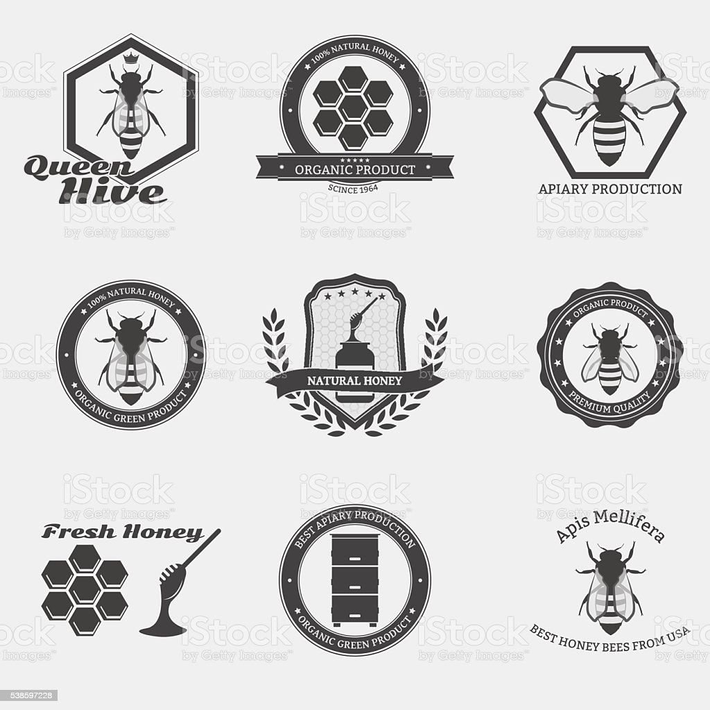 Bee emblems vector art illustration