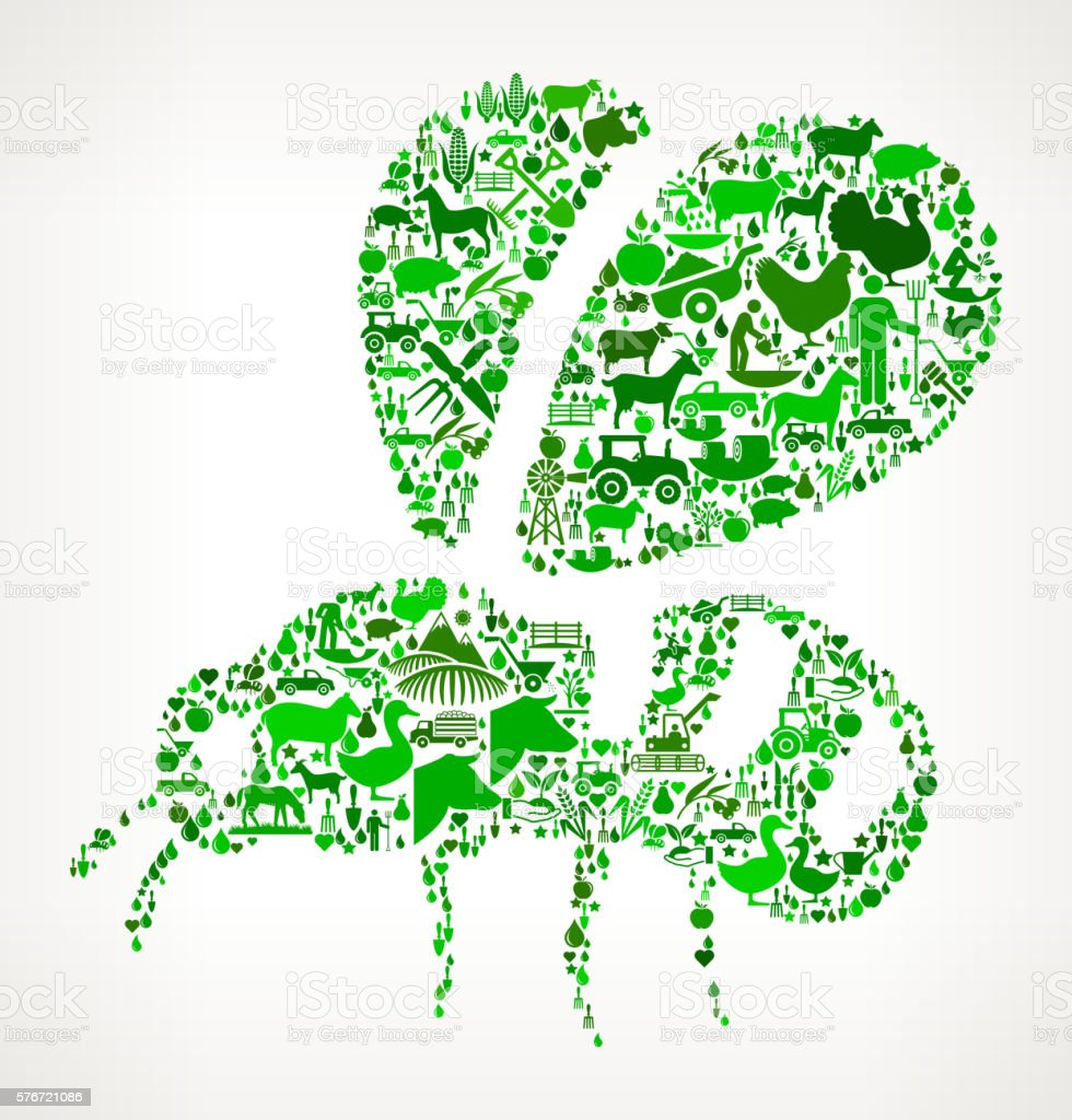 Bee Farming and Agriculture Green Icon Pattern vector art illustration