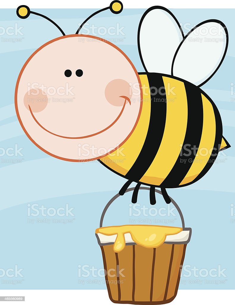 Bee Flying With A Honey Bucket And Background royalty-free stock vector art