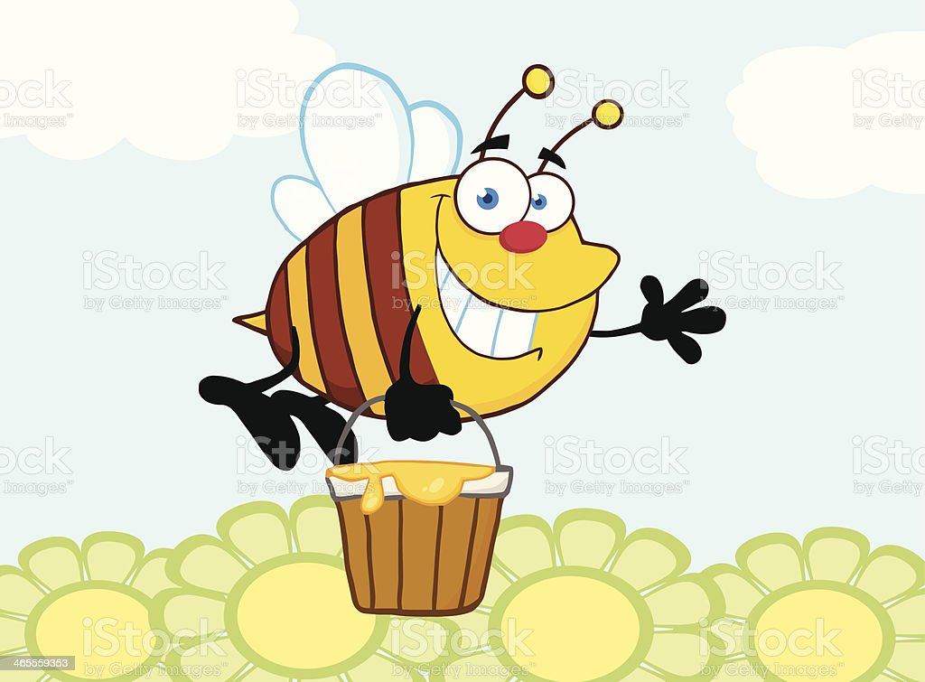 Bee Flying With A Honey Bucket Over Flowers royalty-free stock vector art