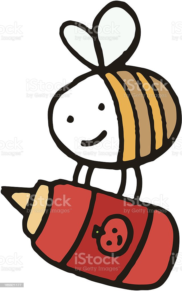 Bee holding a tomato ketchup bottle royalty-free stock vector art
