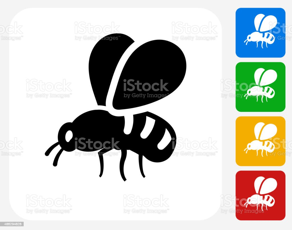 Bee Icon Flat Graphic Design vector art illustration