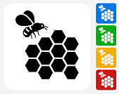 Bee Icon Flat Graphic Design