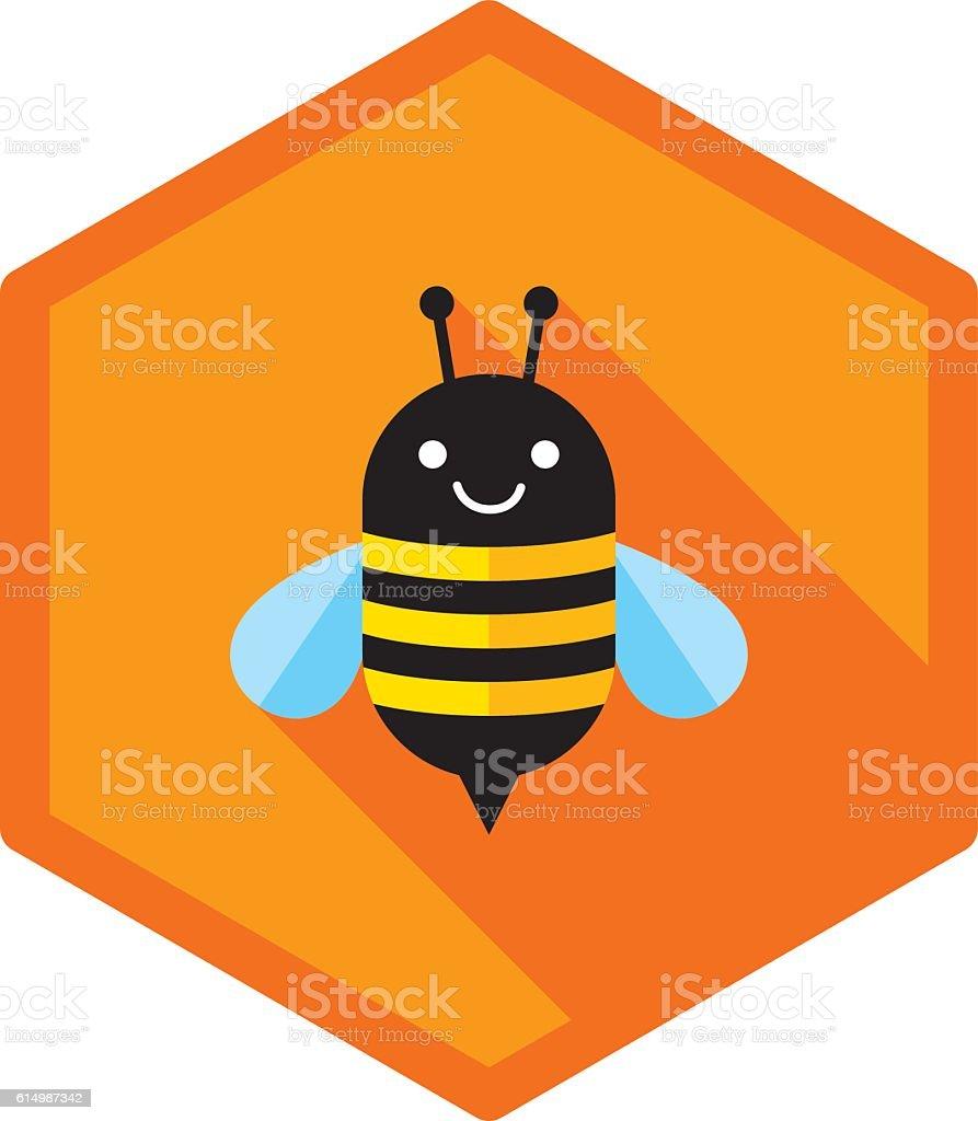 Bee Icon Flat vector art illustration
