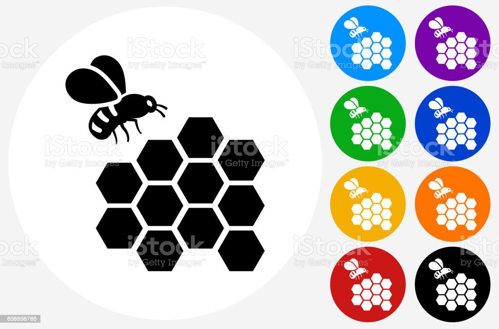 Bee Icon on Flat Color Circle Buttons vector art illustration