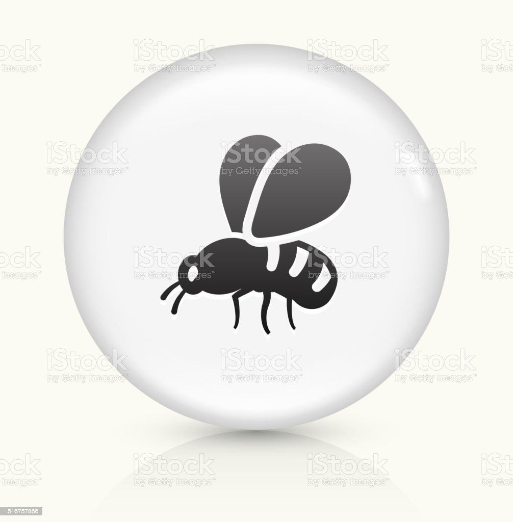 Bee icon on white round vector button vector art illustration