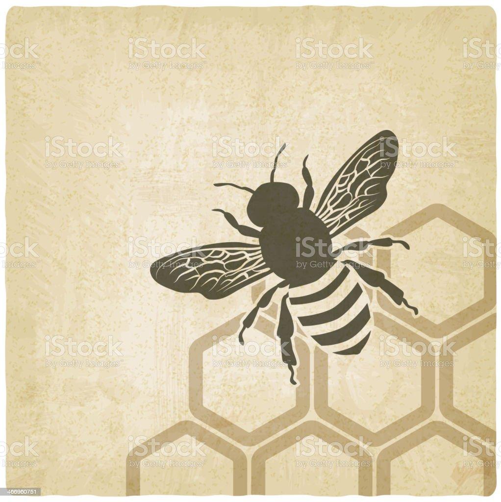 Bee illustration over honeycomb background vector art illustration
