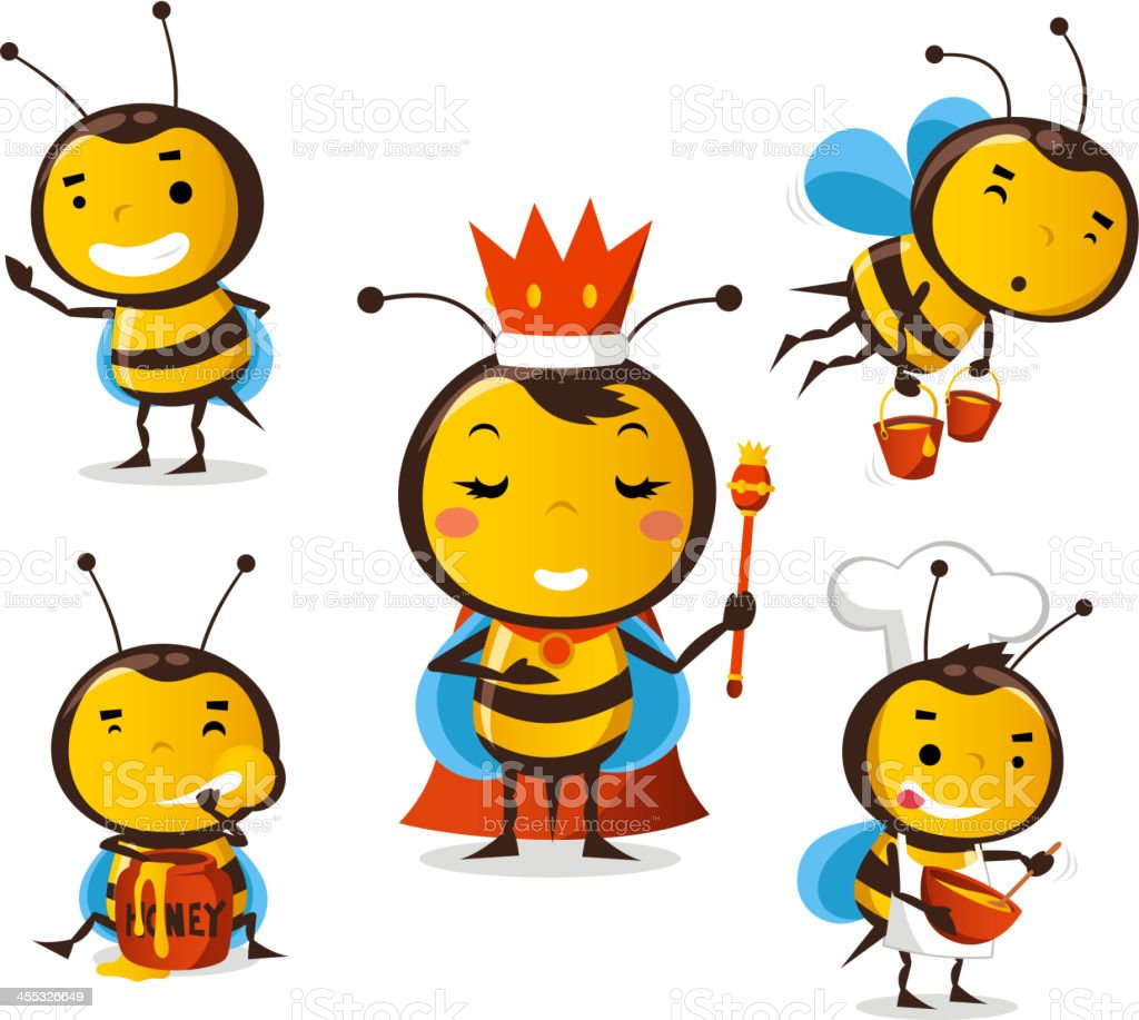 Bee in action set queen eating honey flying crown vector art illustration