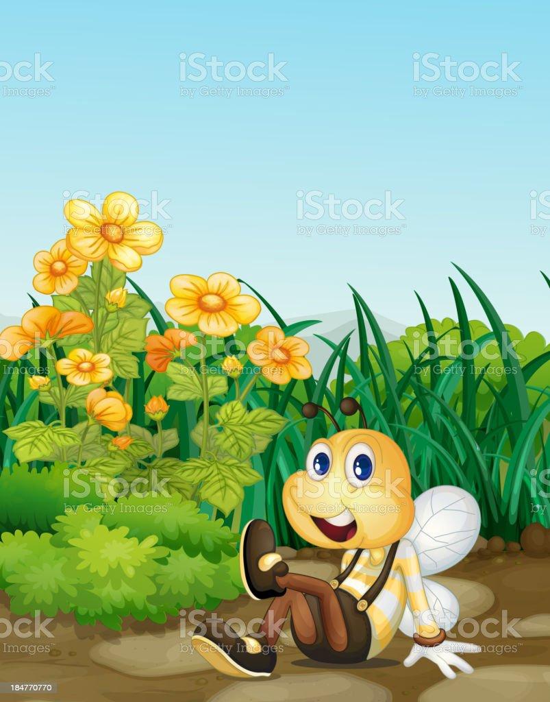 Bee in garden royalty-free stock vector art