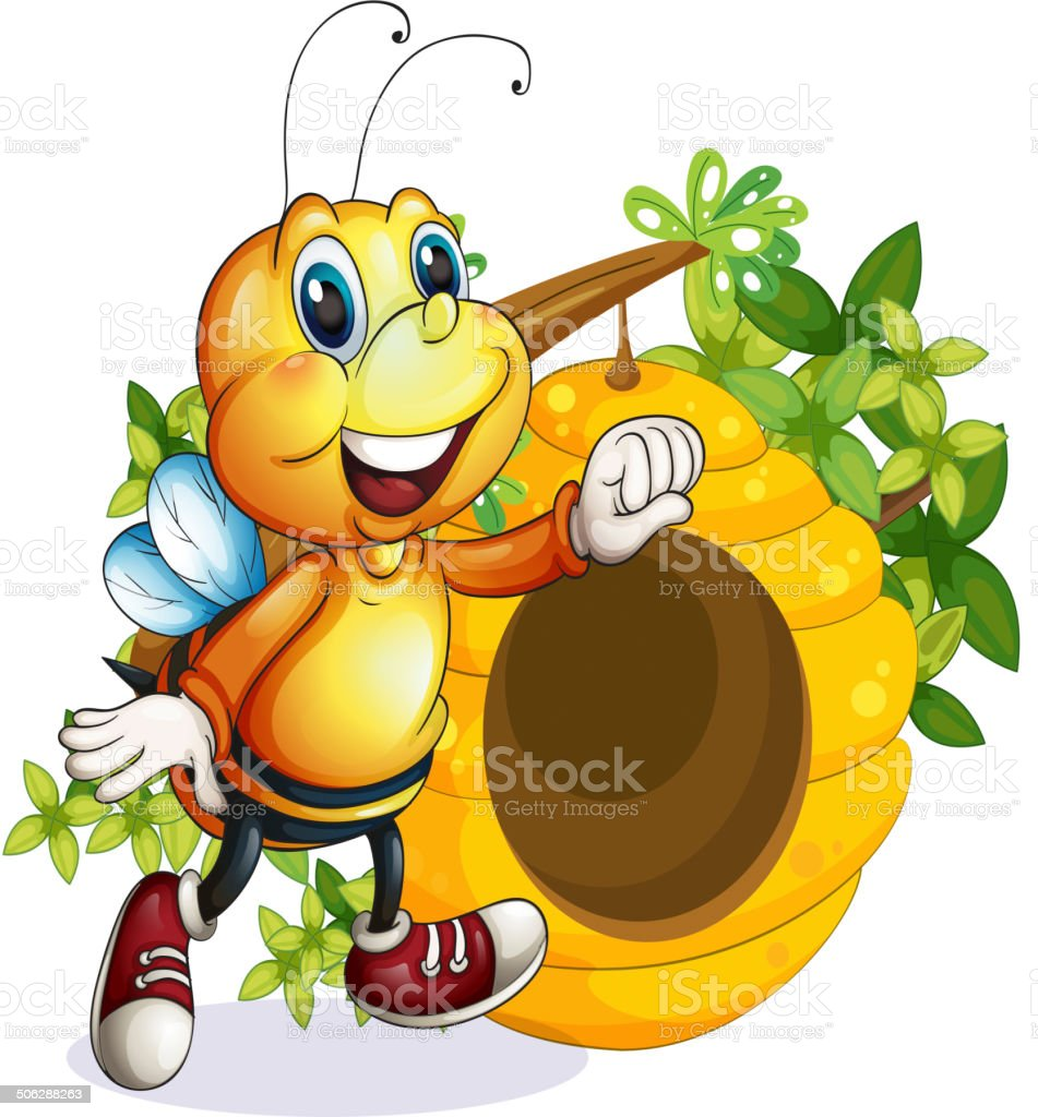 Bee near the beehive vector art illustration