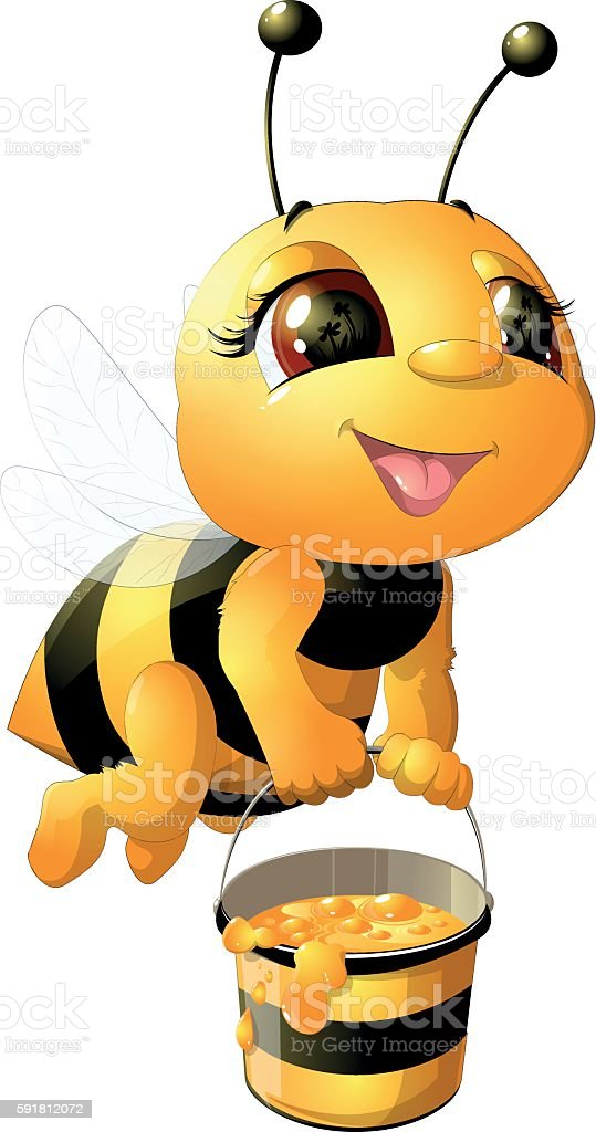 bee on a white background vector art illustration