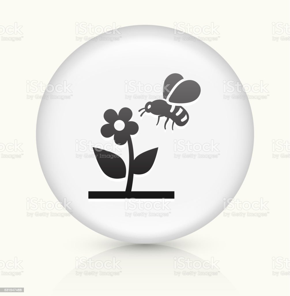 Bee on Flower icon on white round vector button vector art illustration