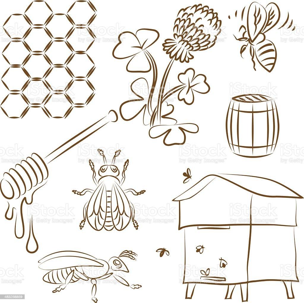 Bee set royalty-free stock vector art