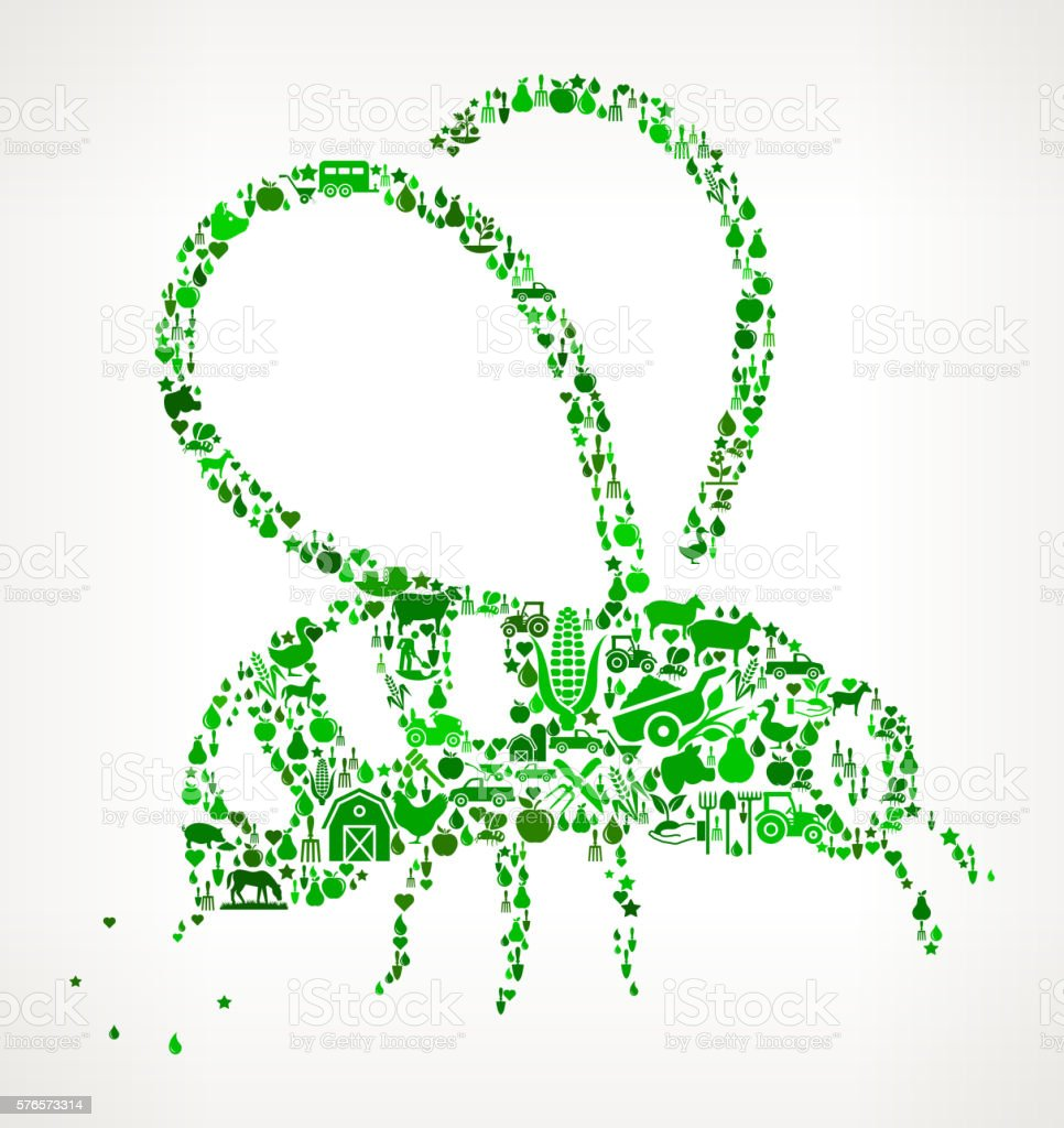 Bee Sting Farming and Agriculture Green Icon Pattern vector art illustration