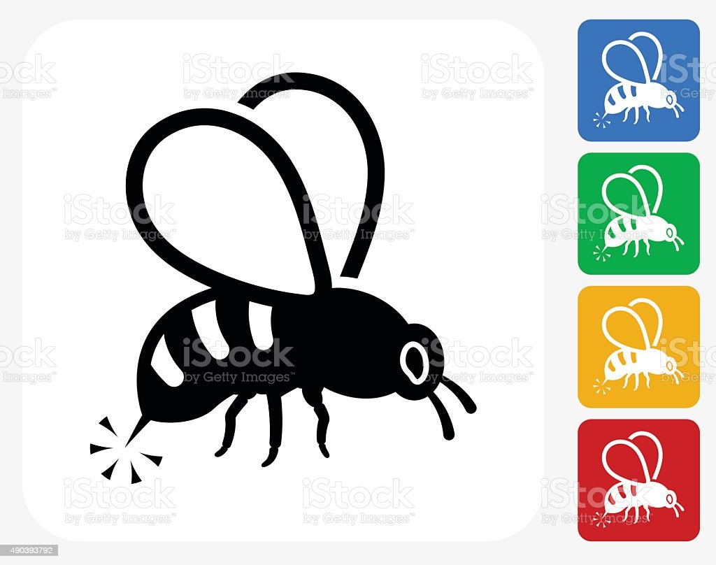 Bee Sting Icon Flat Graphic Design vector art illustration
