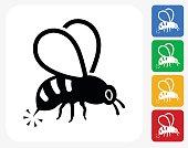 Bee Sting Icon Flat Graphic Design