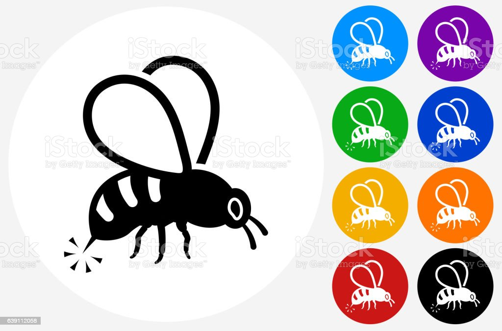Bee Sting Icon on Flat Color Circle Buttons vector art illustration