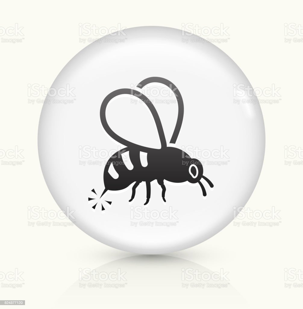 Bee Sting icon on white round vector button vector art illustration