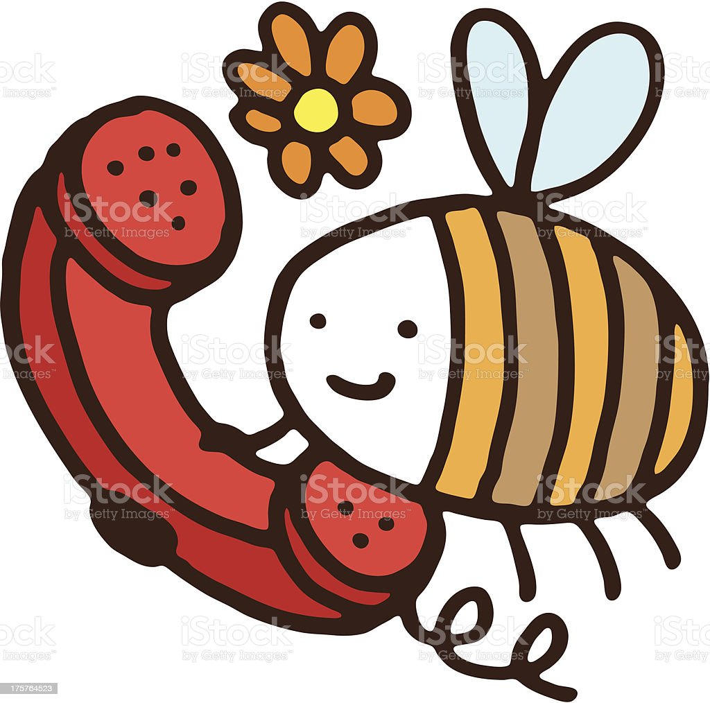 Bee talking on the phone royalty-free stock vector art