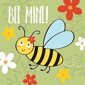 Bee valentine card design