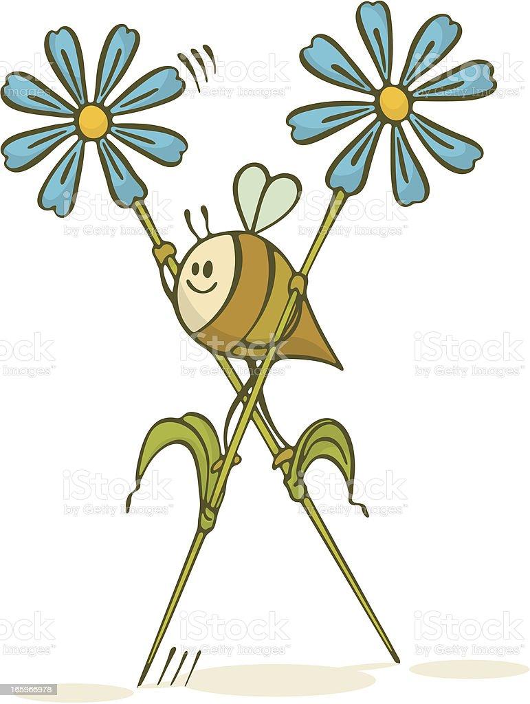 Bee Walking On Flower Stilts vector art illustration