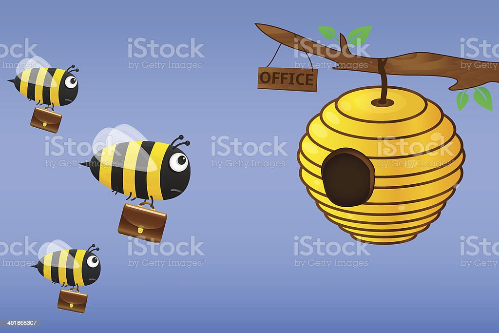 Bee with briefcase flies to work royalty-free stock vector art