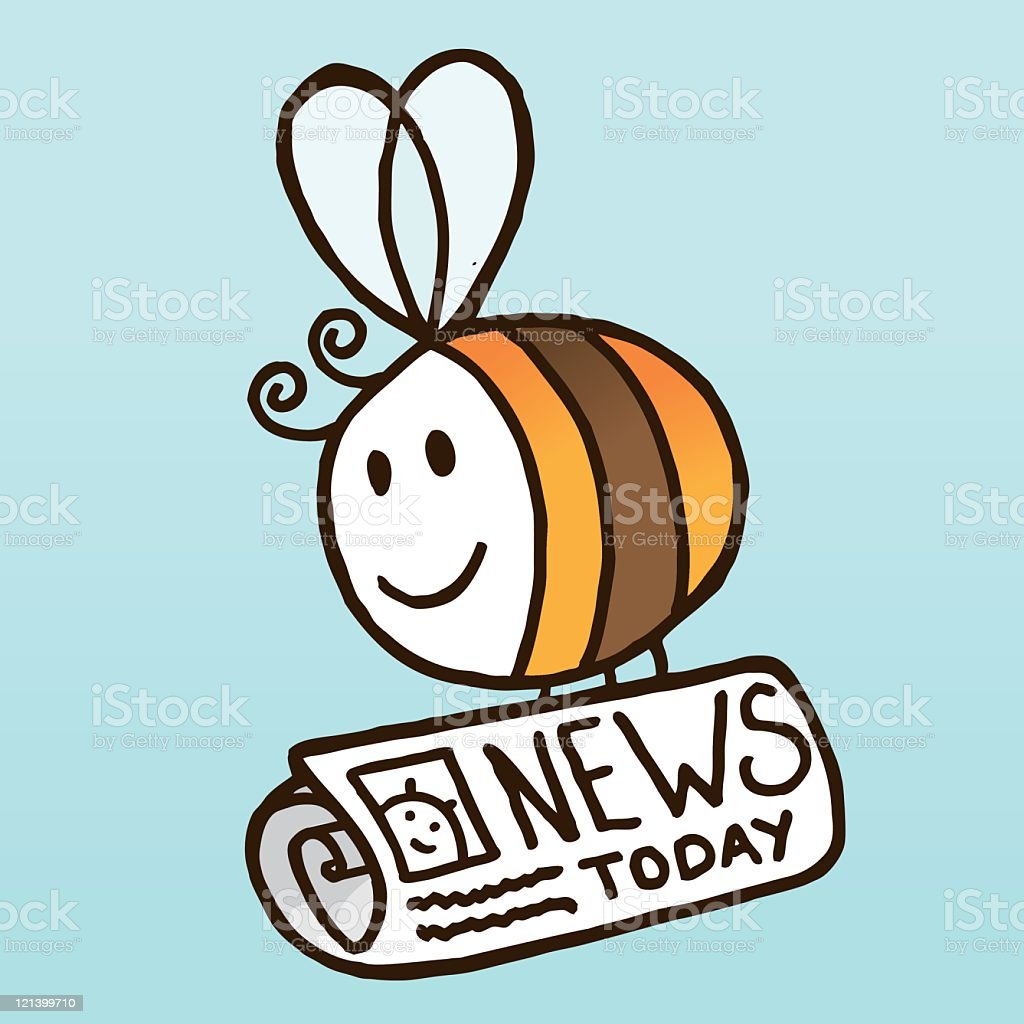 Bee with Newspaper royalty-free stock vector art