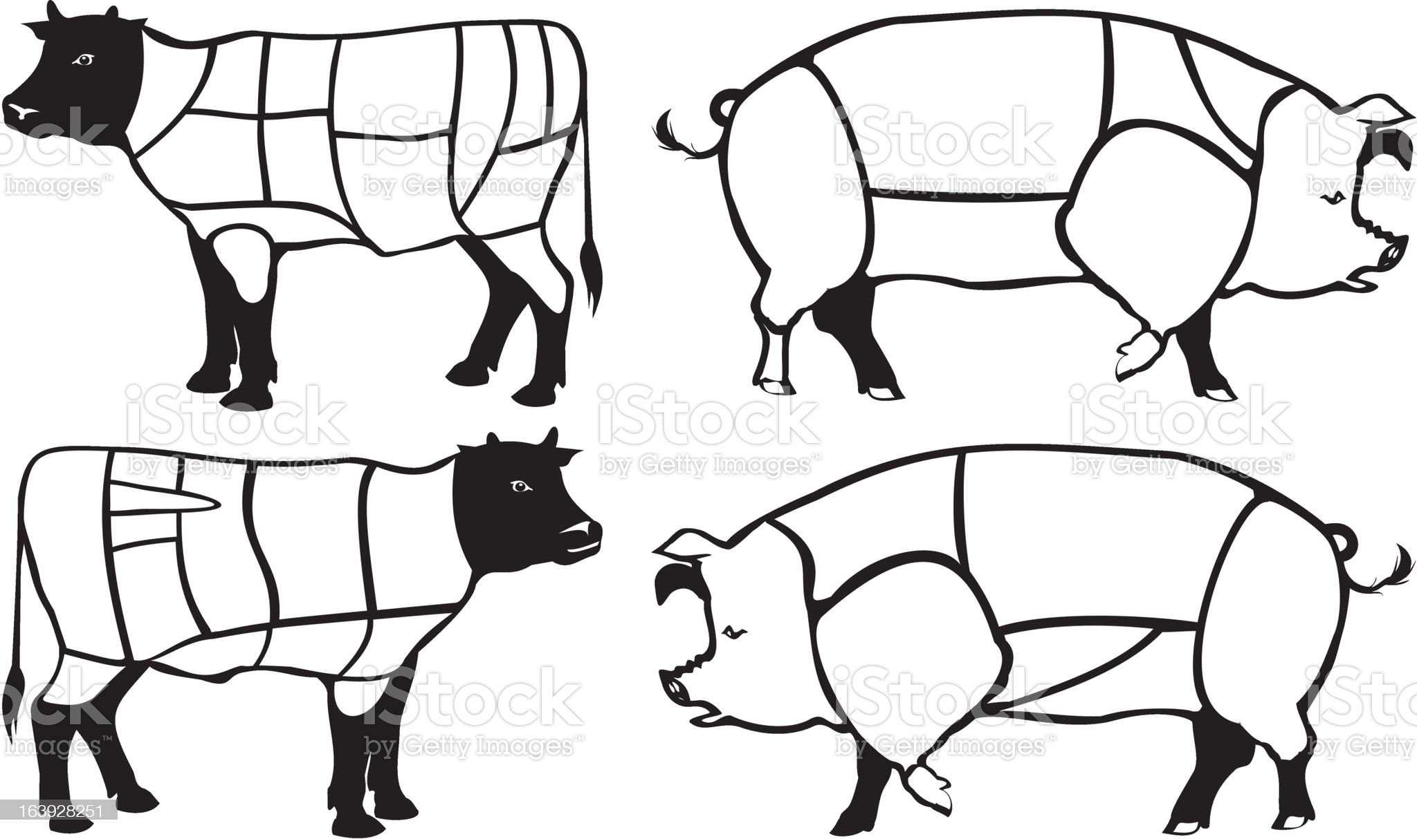 beef and pork cuts royalty-free stock vector art