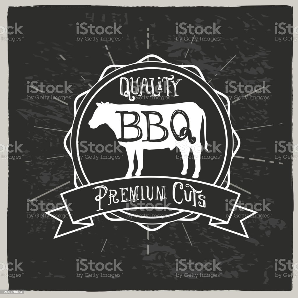 Beef barbeque and hand lettered text label vector art illustration