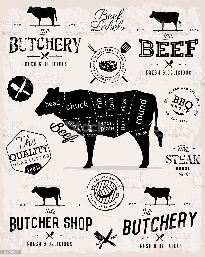 Beef Cuts Diagram and Butcher Shop Badges, Labels and Design Elements vector art illustration