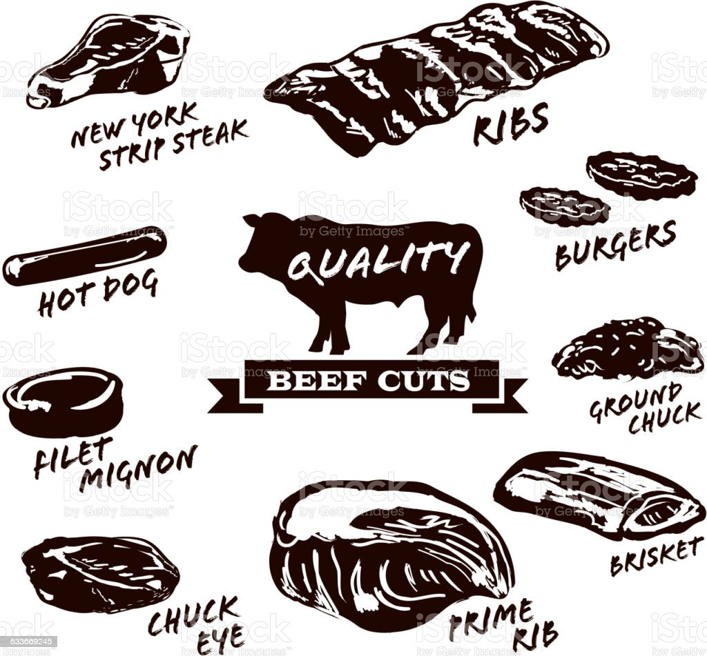 Beef cuts with text on white background vector art illustration