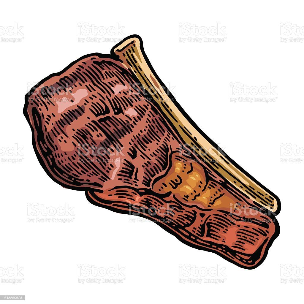Beef grilled steak with bone top view. Vintage vector engraving vector art illustration
