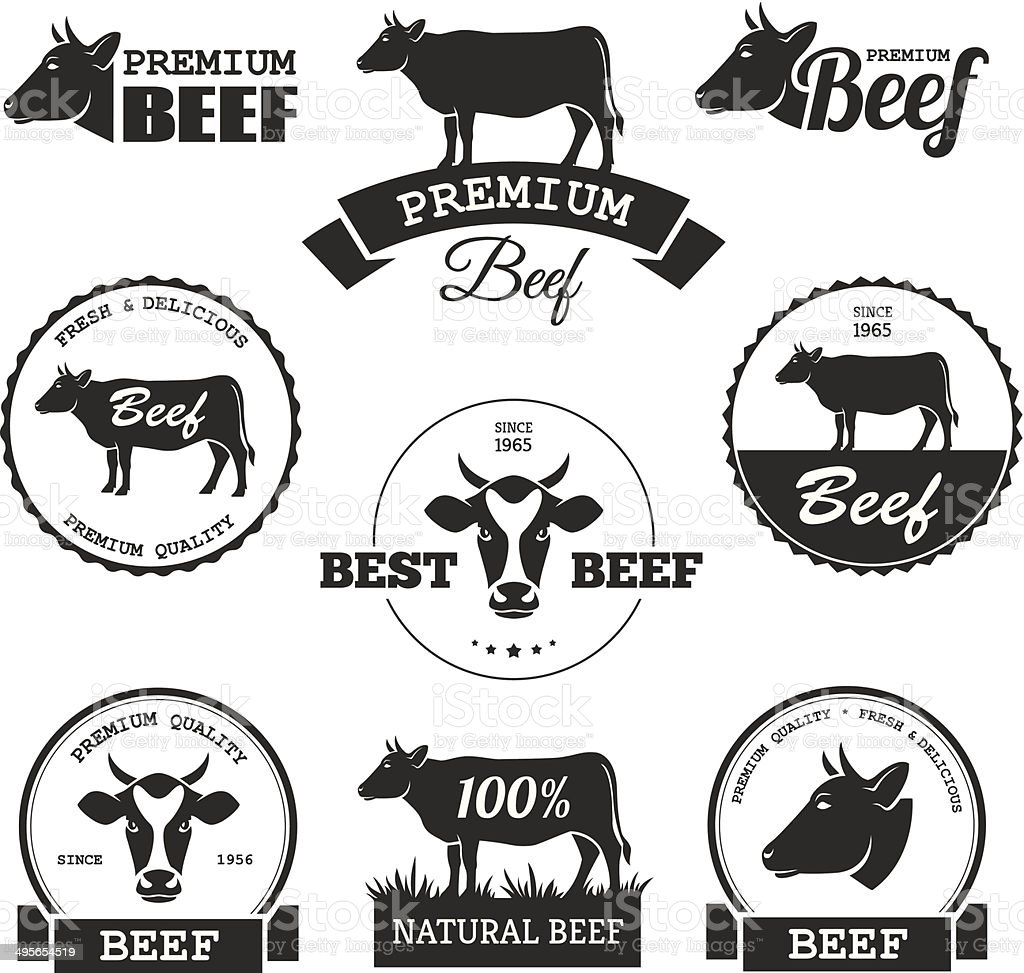 Beef labels vector art illustration
