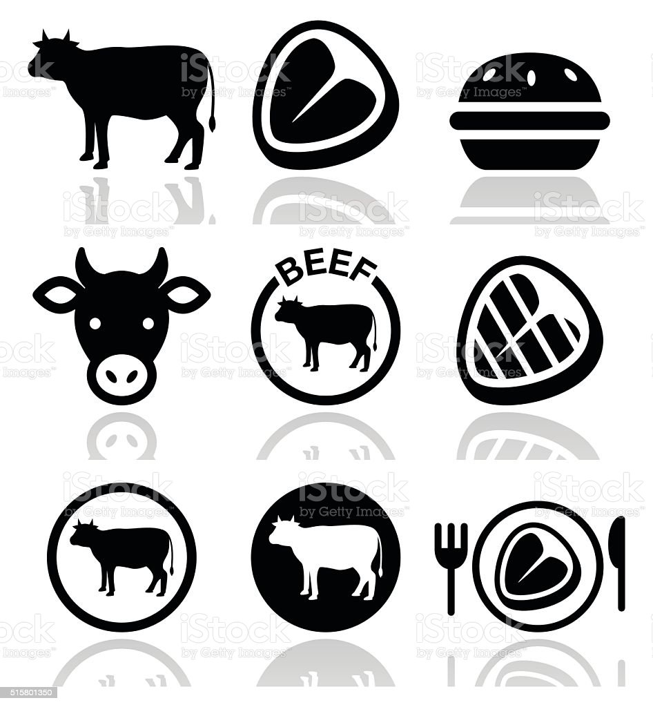 Beef meat, cow vector icon set vector art illustration
