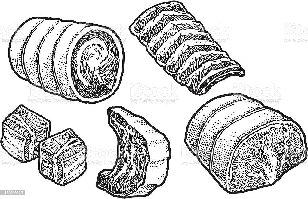 Beef Ribs - Meat Cuts vector art illustration