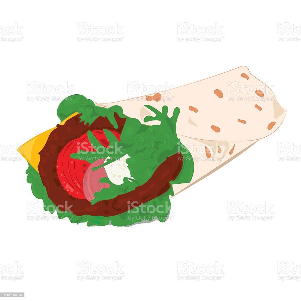 Beef roll vector illustration vector art illustration