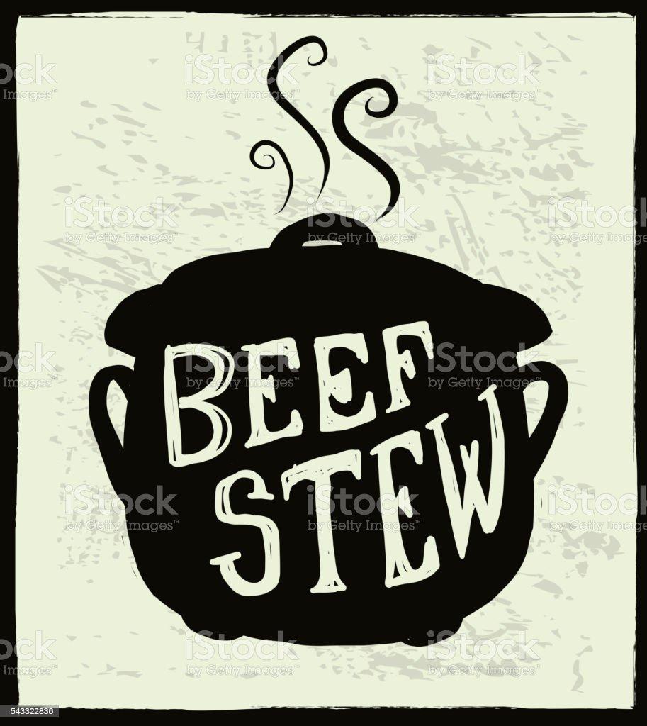 Beef stew cauldron label hand lettering design vector art illustration