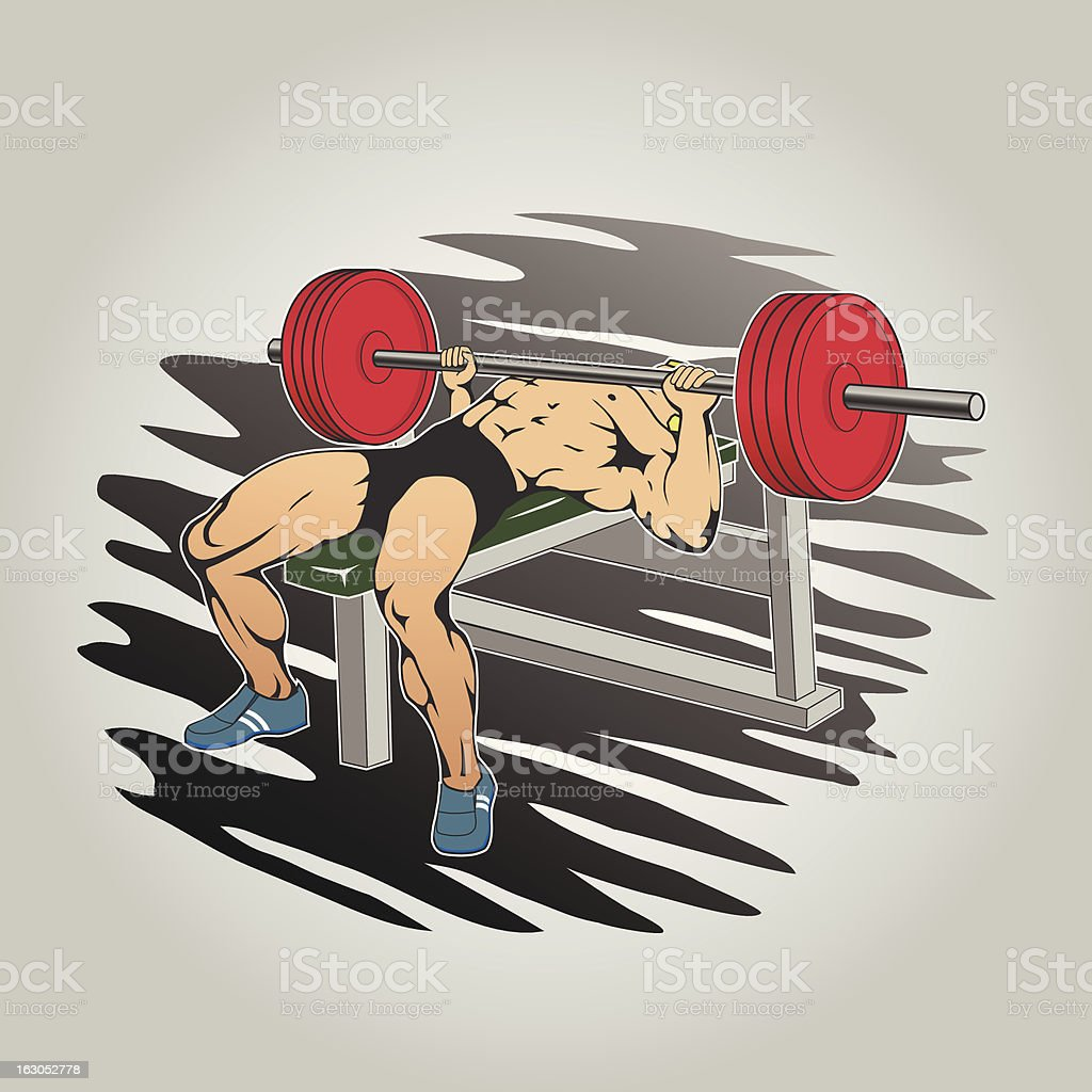 Beefy guy raises the barbell royalty-free stock vector art