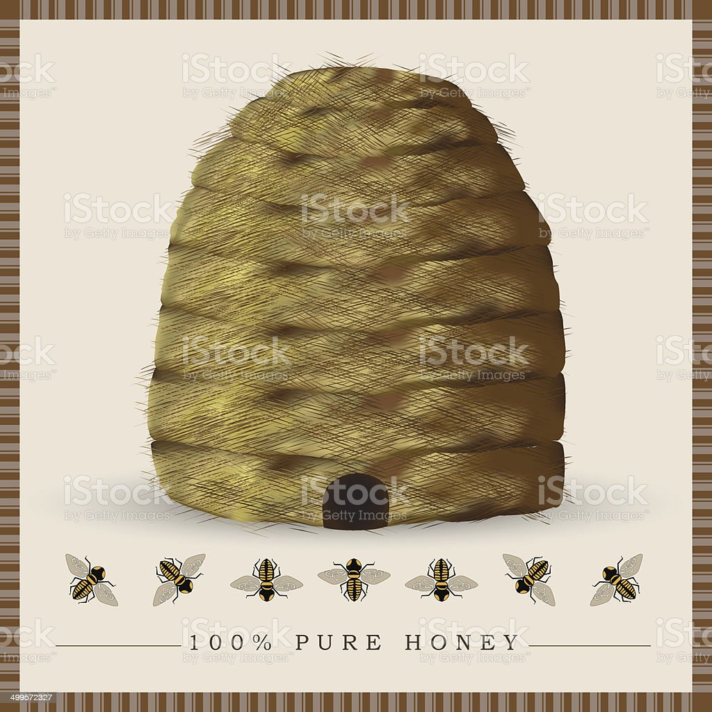Beehive with bees royalty-free stock vector art