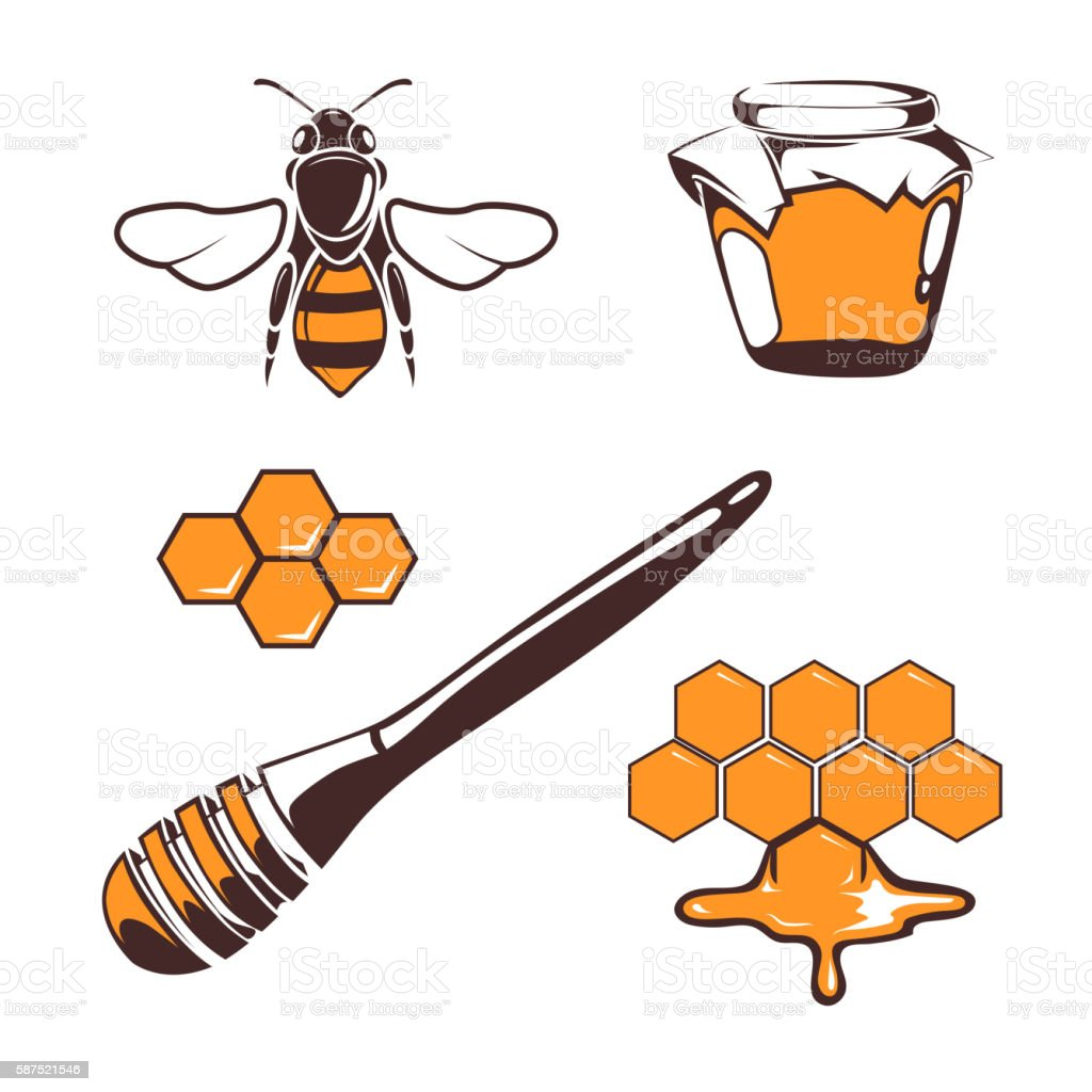 Beekeeper, bee, honey vector design elements isolated over white vector art illustration