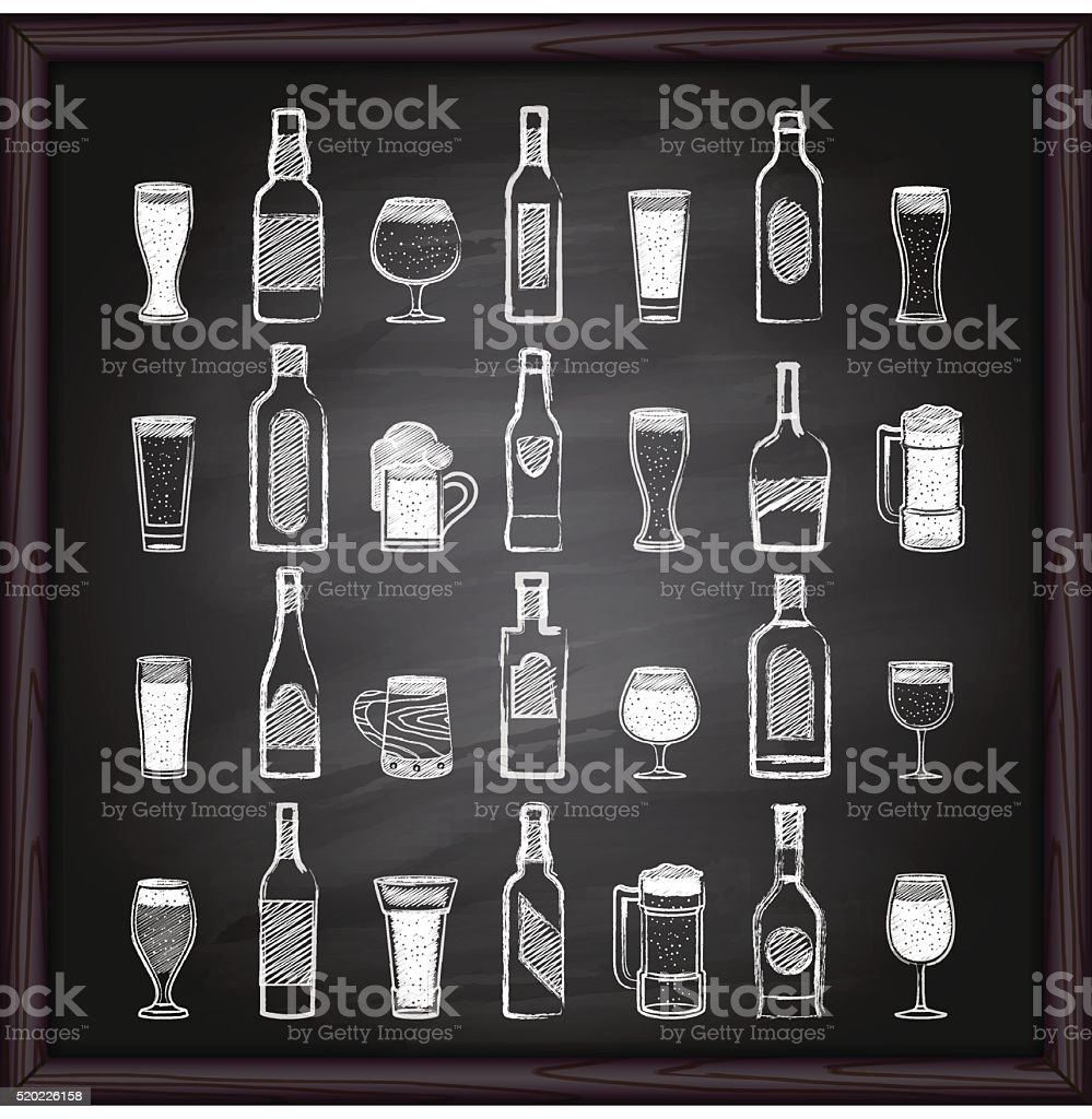 Beer and alcohol icons on blackboard vector art illustration