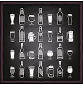 Beer and alcohol icons on blackboard