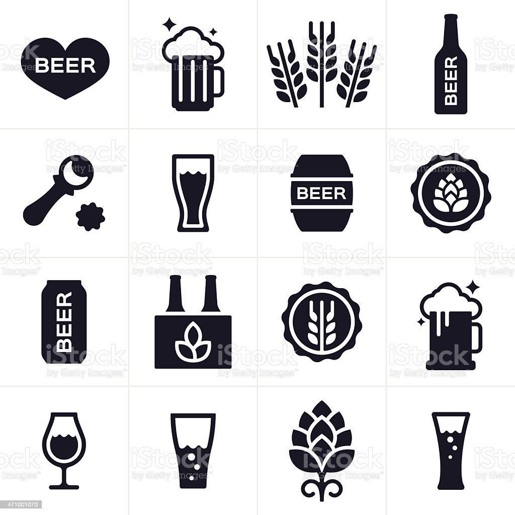 Beer and Beer Brewing Icons and Symbols vector art illustration