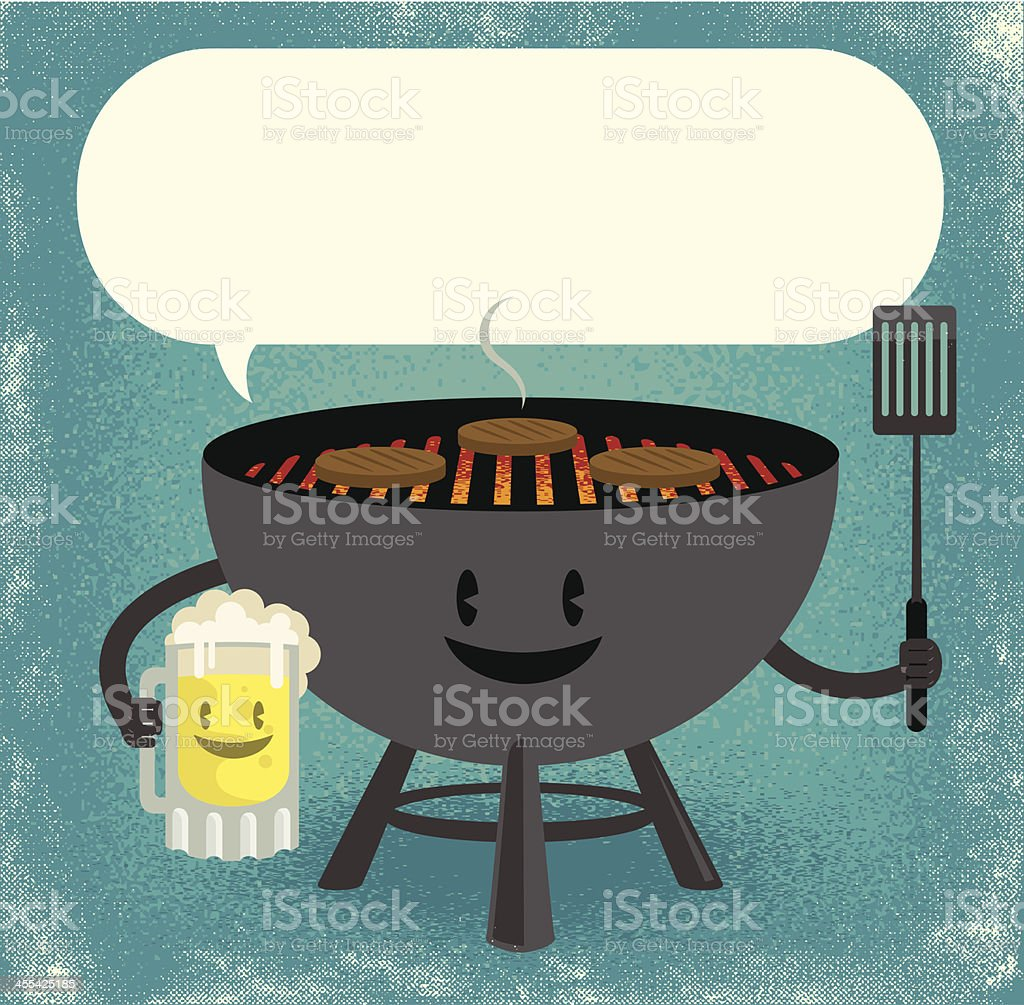 beer and grill BFF's vector art illustration