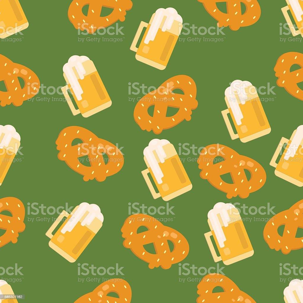 Beer and pretzel pattern vector art illustration