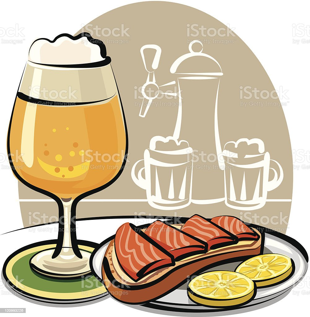beer and sandwich with salmon vector art illustration